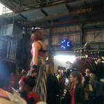 Stilt walkers in the crowd